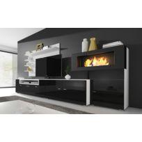 Comfort - Home Innovation - Meuble de télévision, Meuble de Salon avec Cheminée Bioéthanol, finitions Blanc Mate et Noir laqué, Dimensions : 290 x 170 x 45 cm de profondeur