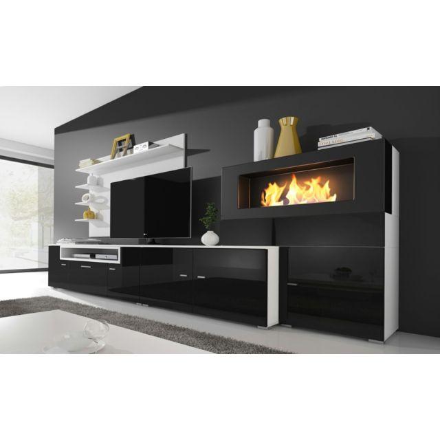 Comfort - Home Innovation - Meuble de télévision, Meuble de Salon avec Cheminée Bioéthanol, finitions Blanc Mate et Noir laqué, Dimensions : 290 x 170 x 45 cm de profondeur Noir laqué. Blanc mate