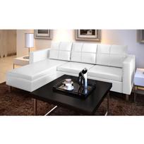 Rocambolesk - Superbe Canapé d'angle 3 places modulable en cuir artificiel blanc neuf