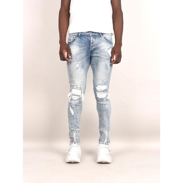 49df7dad8eebe Project X - Jeans destroy brodé à genoux homme Paris, Taille  31, Couleur   Bleu clair - pas cher Achat   Vente Jeans homme - RueDuCommerce
