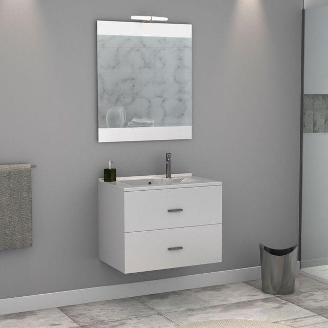 Creazur Meuble Salle De Bain Simple Vasque Rosa 80 Blanc