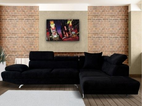 great venteunique canap duangle xl en tissu romain noir angle droit with canap d angle grand format. Black Bedroom Furniture Sets. Home Design Ideas