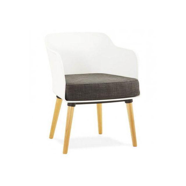 TECHNEB Fauteuil MAXIME en textile style scandinave gris foncé