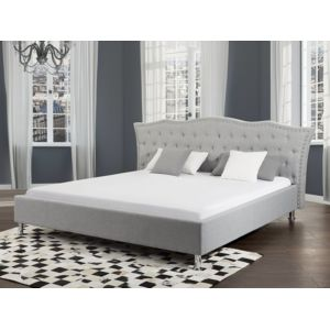 beliani lit design en tissu lit double 180x200 cm metz sommier inclus gris 215cm x n. Black Bedroom Furniture Sets. Home Design Ideas