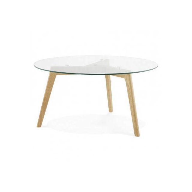 TECHNEB Table basse style scandinave TAROT en verre et chêne massif