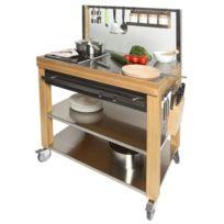 Cristel - Table roulante billot dessus inox + façade inox 90 x 60 cm + Evidement Cm90IEBIB-Cookmobil par