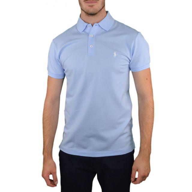 Ralph Lauren - Polo 3 boutons bleu ciel pour homme - pas cher Achat   Vente  Polo homme - RueDuCommerce 0f9c09fb9b3