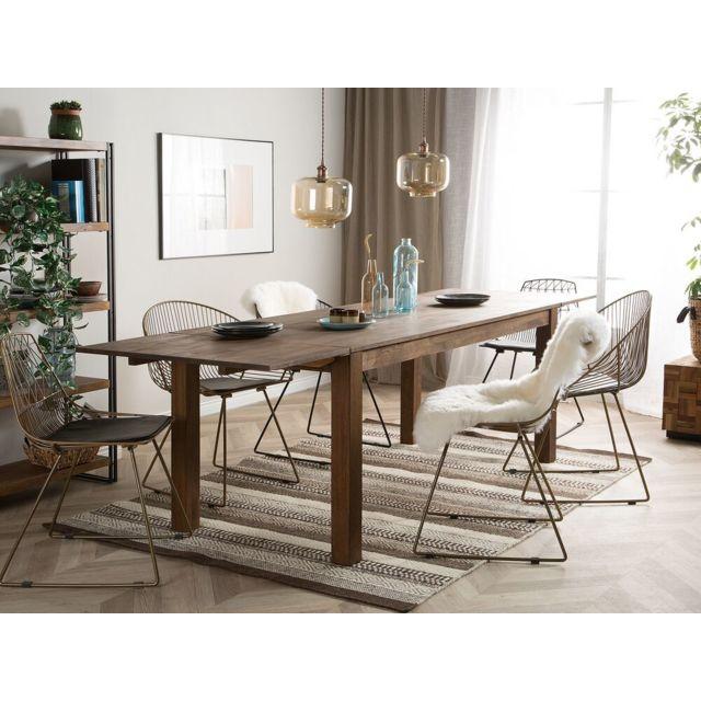 BELIANI Table en bois de chêne 180 x 85 cm avec 2 rallonges MAXIMA - marron