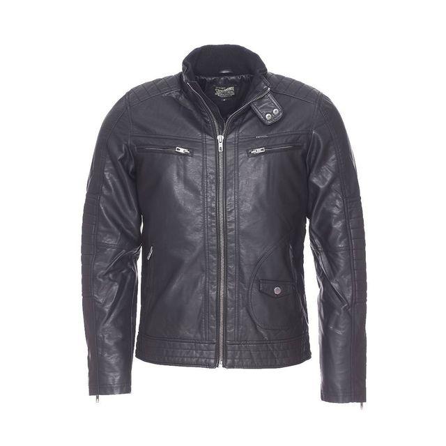 3f5c3d808d89 PETROL INDUSTRIES - Blouson style biker Petrol Industries en simili-cuir  noir
