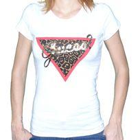 Guess - T Shirt Manches Courtes - Femme - W44i25 Savane - Blanc