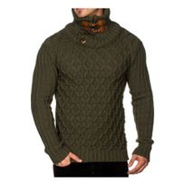 Beststyle - Pull homme col roulé grosse maille kaki
