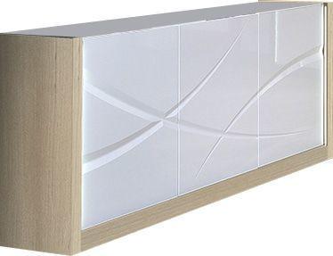 Bahut Blanc Et Bois.Bahut Moderne A 3 Portes Coloris Blanc Laque Et Bois Avec Led