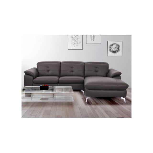 9859bd9df816f0 MARQUE GENERIQUE - Canapé d angle relax électrique en cuir de buffle ...