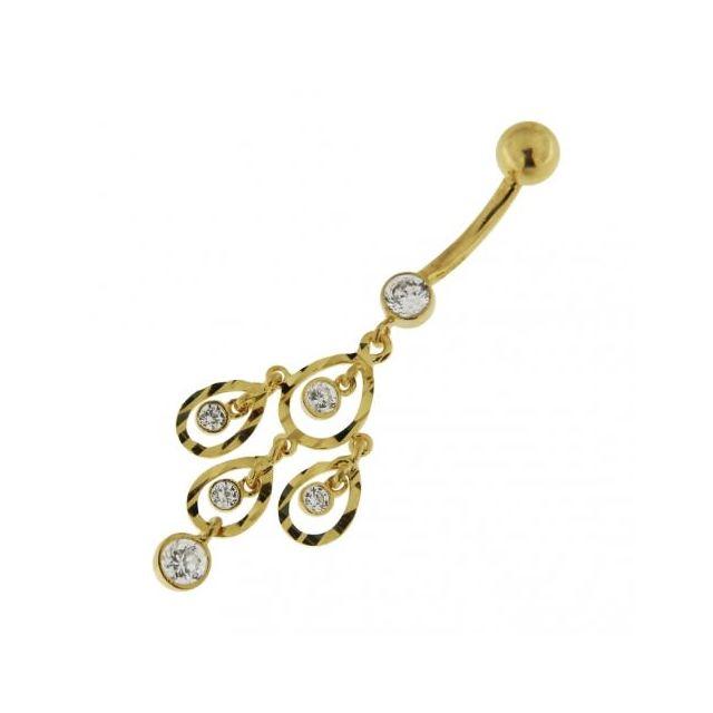 Sans Marque Bijou Piercing De Nombril Avec Zircon Cubique Aurore Boréale En Or 14 carats