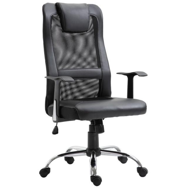 HOMCOM Fauteuil de bureau manager grand confort dossier ergonomique à bascule têtière hauteur assise réglable nylon simili cuir