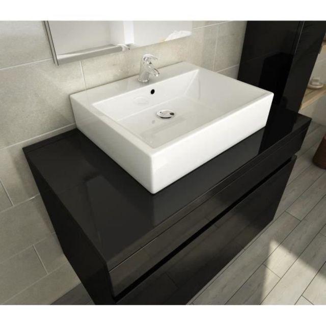 G/én/érique Luna Salle de Bain Complete Simple Vasque 80 cm Rouge Vernis Haute Brillance