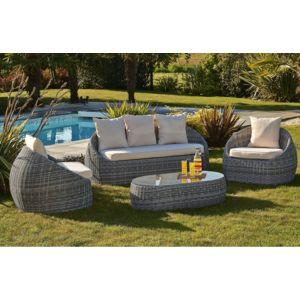 DCB GARDEN - Salon de jardin : banquette 3 places + 2 fauteuils et 1 ...