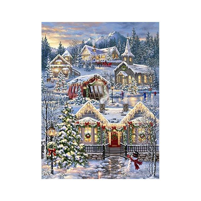 Springbok Puzzles - Christmas Village - 1000 Piece Jigsaw Puzzle - Large 30 Inches by 24 Inches Puzzle - Made in Usa - Unique Cut