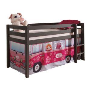 comforium lit mi hauteur taupe 90x200 cm en pin massif avec une tente de jeu design bus de. Black Bedroom Furniture Sets. Home Design Ideas