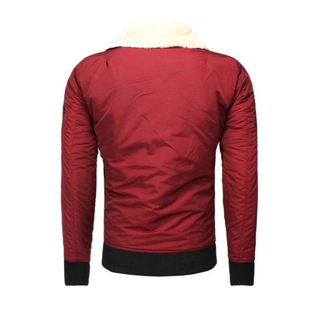 Freeside - Blouson rouge col fourrure amovible XXL