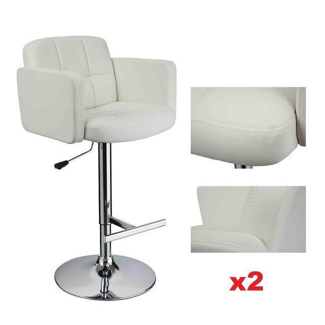 198c4c556a5b07 Decoshop26 - Lot de 2 tabourets de bar ergonomique dossier repose pieds  simili-cuir blanc