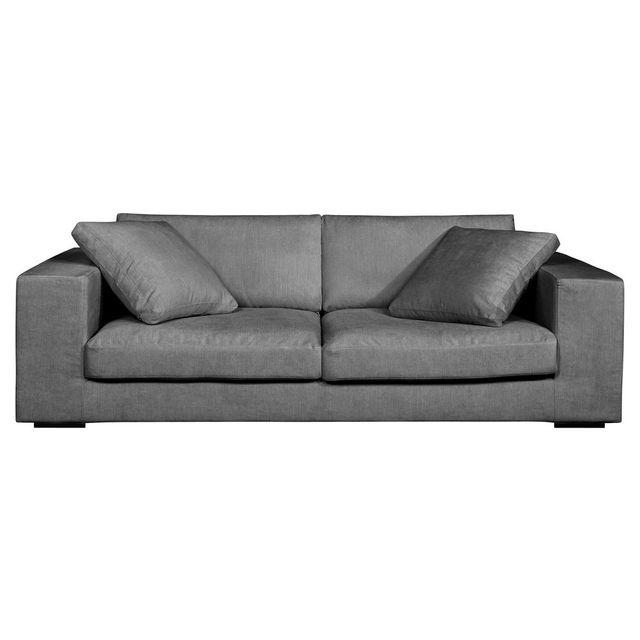 House Bay Canapé lounge 3 places en tissu confort Bultex et Plumes + 2 coussins Baltazar - Gris
