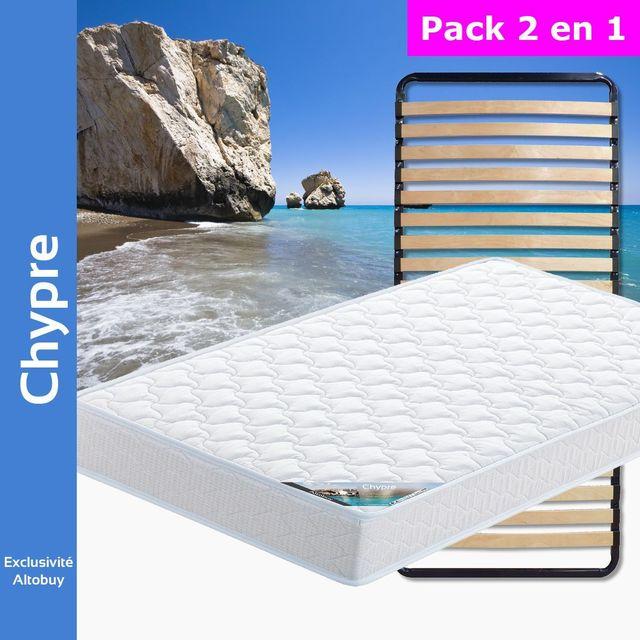 altobuy chypre pack matelas lattes 90x190 blanc 90cm x 190cm pas cher achat vente. Black Bedroom Furniture Sets. Home Design Ideas