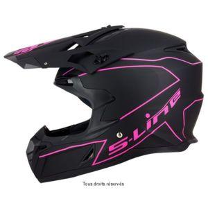 s line casque moto cross enduro s820 noir mat et rose xl pas cher achat vente casques. Black Bedroom Furniture Sets. Home Design Ideas