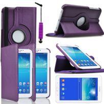 Vcomp - Housse avec support Et Rotation 360° en cuir Pu pour Samsung Galaxy Tab 3 Lite 7.0 T110/ Tab 3 Lite 7.0 Ve Wi-Fi T113/ Tab 3 V T116NU/ Tab 3 Lite 7.0 3G T111 + mini stylet - Violet