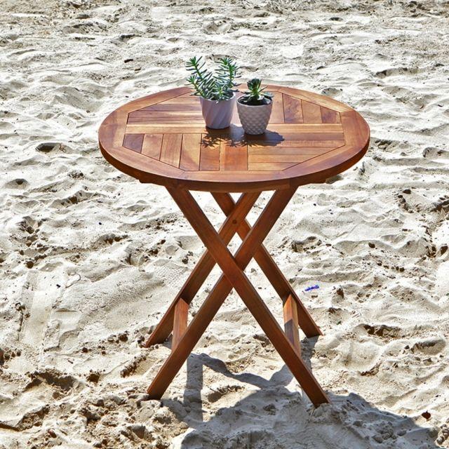 BOIS DESSUS BOIS DESSOUS Table de jardin en bois de teck ronde pliante
