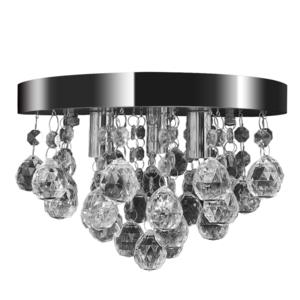 Lustre plafonnier contemporain cristal lampe chromé