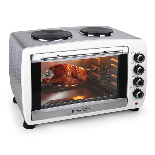 KLARSTEIN Omnichef Mini four 2 plaques de cuisson grill & broche 2000w 45L blanc