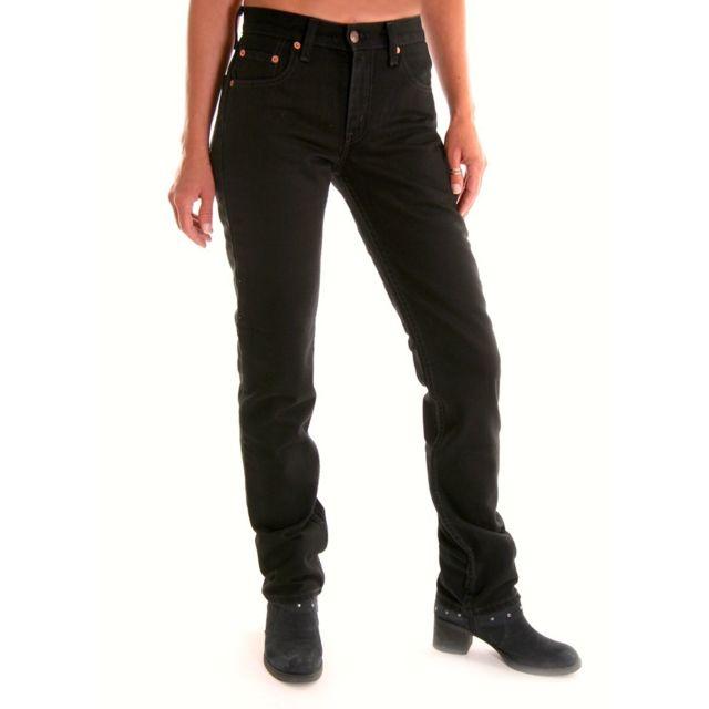 02e1fbf01e Levi's - jeans Levis 595 noir femme coupe droite slim taille haute 02.85