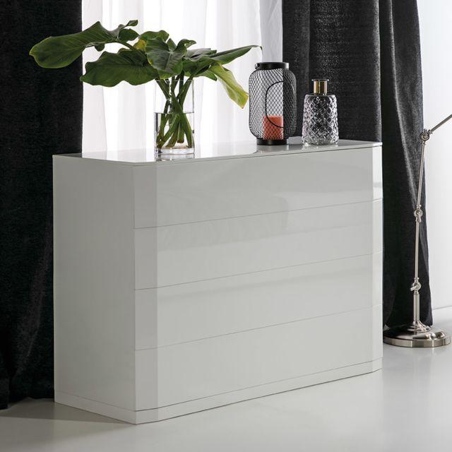 Nouvomeuble Commode blanc laqué design Tatimo, 4 tiroirs avec système Push