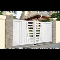 Sonnier Bois Panneaux Menuiserie - Portail Aluminium Frejus - Coulissant 2  Vantaux assemblés Couleur - Blanc 17afdd4a6747