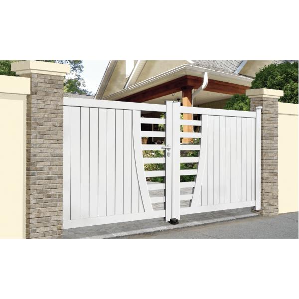 sonnier bois panneaux menuiserie portail aluminium frejus couleur blanc ral 9010 satin. Black Bedroom Furniture Sets. Home Design Ideas