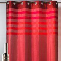 Home Maison - Rideau tamisant à œillets shantung polyester parement rayé 140x250cm Belladone