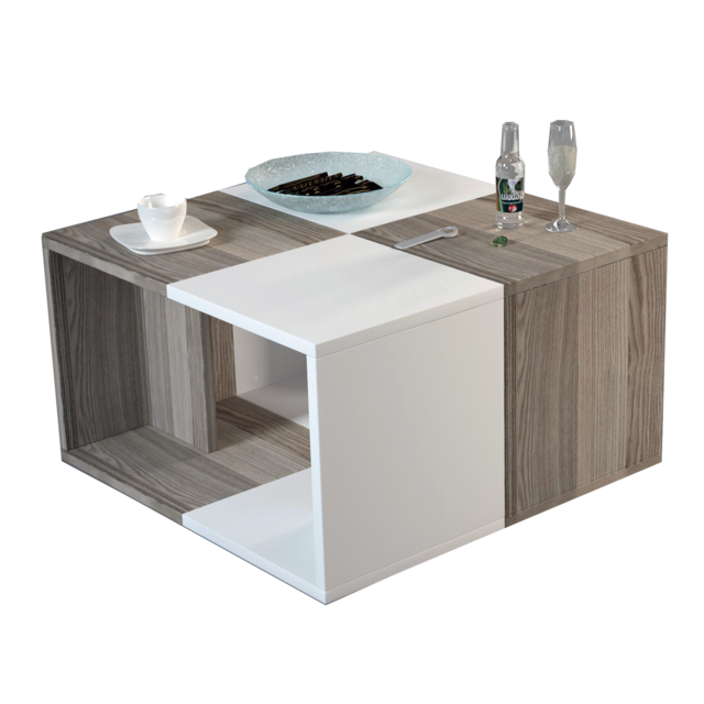 Alphamoebel Table basse Doodle blanc-cordoba 33,1x59x59 cm