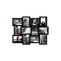 Mobili Rebecca - Cadre Photo Collage Mural Rectangle 12 Imagerie Bois Noir Vintage Retro Design