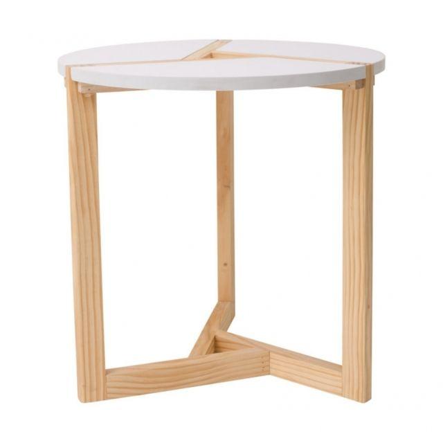 Mobili Rebecca Table Basse Table du Salon Bois Beige Blanc