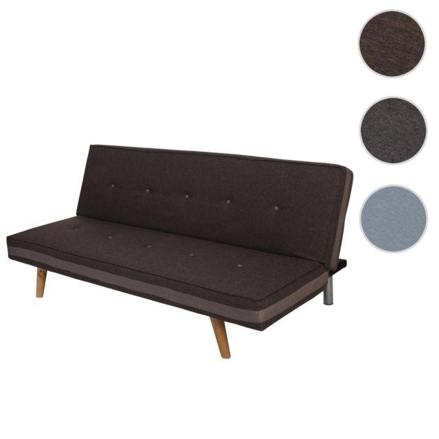 MENDLER Canapé 3 places Herstal, sofa, canapé-lit, lit d'ami ~ tissu, marron