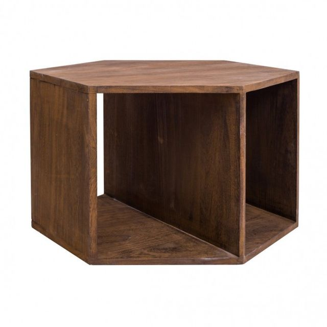 Mobili Rebecca - Table de salon Basse Hexagonale Bois Marron Contemporain  Sejour Entree 06ceb4564743