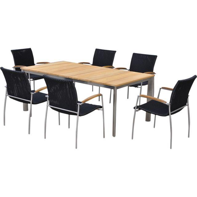 DELORM - Salon de jardin table et 6 fauteuils acier brossé et teck ...