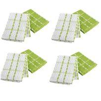 Ligne Decor - 2 Serviettes torchons essuis mains 50 x 70 cm eponge vert et blanc