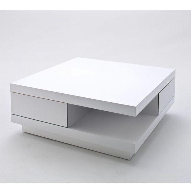 Inside 75 Table Basse carrée Albi finition laquée blanc brillant 2 tiroirs