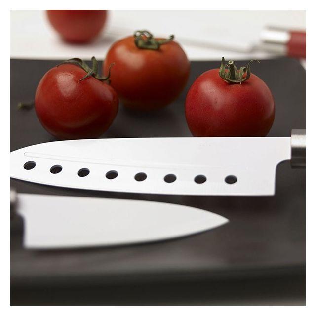 Totalcadeau Set couteaux inoxydable avec revêtement en céramique ensemble de 4 Cuisine