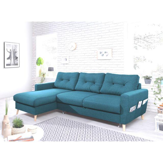 BOBOCHIC OSLO - Canapé d'angle gauche convertible - Bleu canard - 225x147x86cm