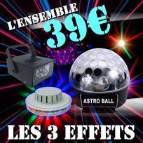 Ibiza Light - Pack Dj Led avec 1 Boule Astro Led Rgb + 1 Ufo Led + 1 Stroboscope Pa Dj Sono Led Prix Fou