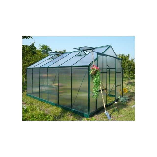 marque generique serre de jardin en polycarbonate de 13m kalida avec embase vert - Serre Jardin