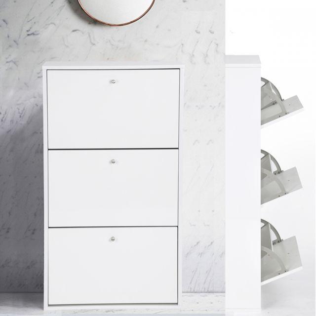 Ego Design Meuble à chaussures Mady 3 abattants double blanc